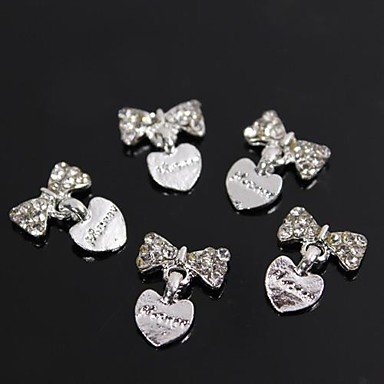 A-TT-121 10pcs Silver Rhinestone Bowtie with Heart Dangle 3D Alloy Nail Art Decoration