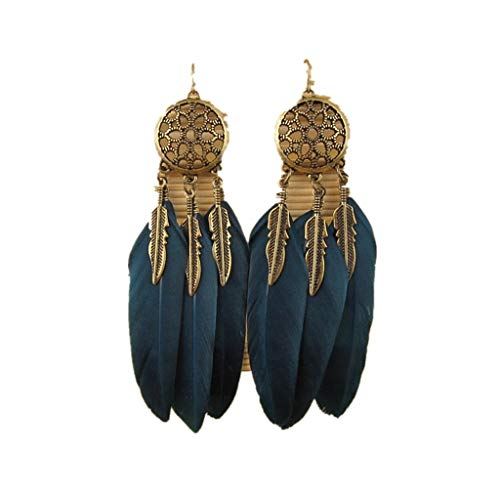 Mysky Bohemia Feather Long Design Dream Catcher Earrings for Women Jewelry -