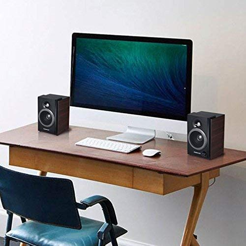 2.0 Stereo Volume Control with LED Light 10W USB Powered Mini Speakers for PC//Laptops//Desktops//Phone//Ipad//Game Machine INSMART Computer Speakers Wooden Brown