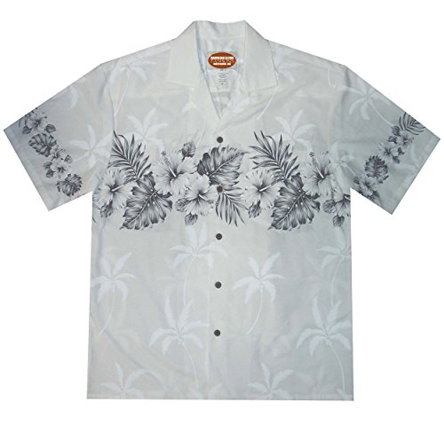 Cotton Hawaiian Shirt with Chest Border Hibiscus Design, XLARGE, WHITE ()