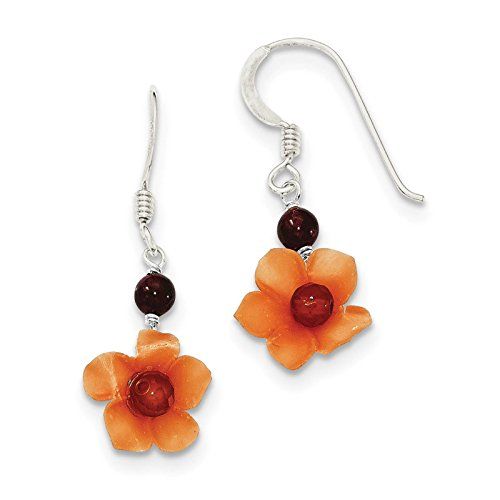 - 925 Sterling Silver Garnet & Carnelian Bead Flower Dangle Earrings