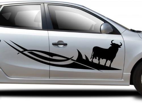 2x Pegatina para el coche español Chico Toro España Osborne España Rayas laterales 5U007 - Negro brillante, 80cm: Amazon.es: Coche y moto