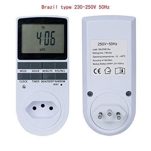 Programmer Timer Socket Timer Switch EU Fr BR Plug Electronic Timer Outlet Digital Kitchen Plug Sockets 7 Day 12/24 Hour BR type 230-250V50hZ