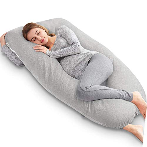 AngQi U Shaped Pregnancy Pillow - Full Body Maternity Pillow for Side Sleeping and Back Pain - with Washable Gray Jersey Cover