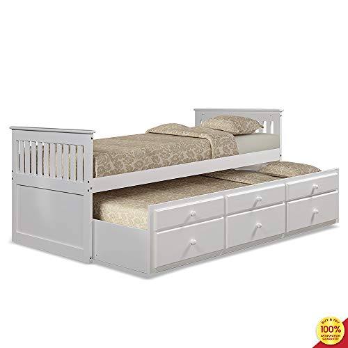Captain s Twin Daybed with Trundle Bed and Storage Drawers, White