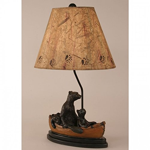 - Coast Lamp Manufacturer 12-R13D Kodiak with Honey Accent Bear Family in Canoe Table Lamp - 28.5 in.