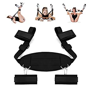 Beautychen Cosplay Adult Hand & Ankle Cuffs Strap Kit Bed Restraints Couple Flirt Toy for Party Game Restraint System Kit Medical Grade Adjustable Soft Wrist Set-03
