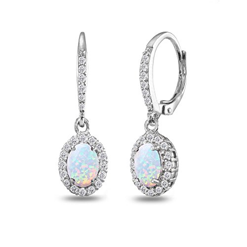 Sterling Silver Simulated Opal Oval Dangle Halo Leverback Earrings with White Topaz Accents