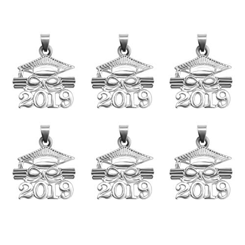 Amosfun 2019 Dr. Cap Diploma Pendant Zinc Alloy Accessory Graduation Souvenir Gift for Jewelry Making Graduation Supplies 6PCS(White)