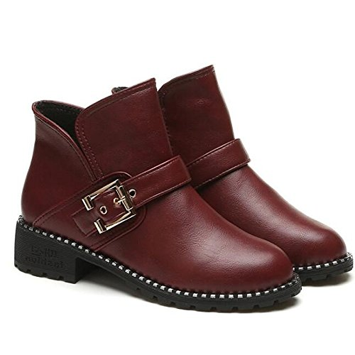 Burgundy US5.5   EU36   UK3.5   CN35 Burgundy US5.5   EU36   UK3.5   CN35 HSXZ Women's shoes PU Spring Fall Comfort Bootie Boots Chunky Heel Booties Ankle Boots for Casual Burgundy Black