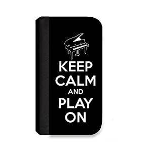 Insomniac Arts - Keep Calm and Play On, Piano - Samsung Galaxy Note 4 Cover, Cell Phone Case, Wallet