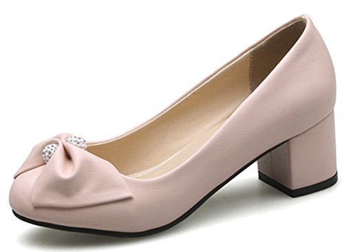 IDIFU Women's Dressy Round Toe Low Top Slip On Mid Chunky Heels Pumps Shoes With Bows Pink 4 6 B(M) US