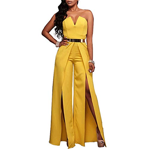 Womens Off Shoulder Sleeveless Jumpsuit - Elegant Cocktail Wide Split Leg Strapless One Piece Rompers Playsuit Yellow