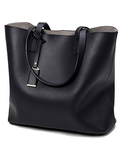 033455bd46 Blu Pu Spalla Pezzi Pelle 2 Shopping Nero Tracolla Borse Donna wZvgqv