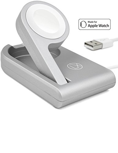Apple Travel Cables (Foldable Apple Watch Charger (MFi Certified) – Enables Nightstand Mode With 3ft USB Cable For iWatch Series 3, 2, 1 (38, 42mm) – Wireless Portable Magnetic Charging Stand For Home And Travel (Silver))