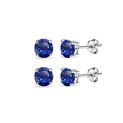 (2 Pair Set Sterling Silver 6mm Created Blue Sapphire Round Stud Earrings for Cartilage)