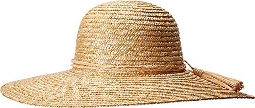 San Diego Hat Company Women's WSH1207 - Wheat Straw Hat with Braided Raffia Trim Natural One Size