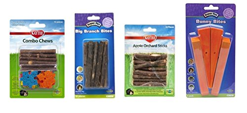 Kaytee Super Pet Small Animal Chews 4 Flavor Variety Bundle (1) Each: Combo Chews, Big Branch Bites, Apple Orchard Sticks, Bunny Bites
