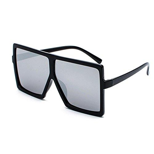 mujeres gafas del gran marco sol grandes para tamaño Negra Inlefen vendimia Gafas de Gafas las la de de de de Gafas Plata sol Hombres xwwqfUR8A