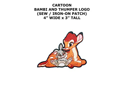 Diy Costume Bambi (Bambi and Thumper Animal Cartoon DIY Embroidered Sew or Iron-on Applique Patch Outlander)