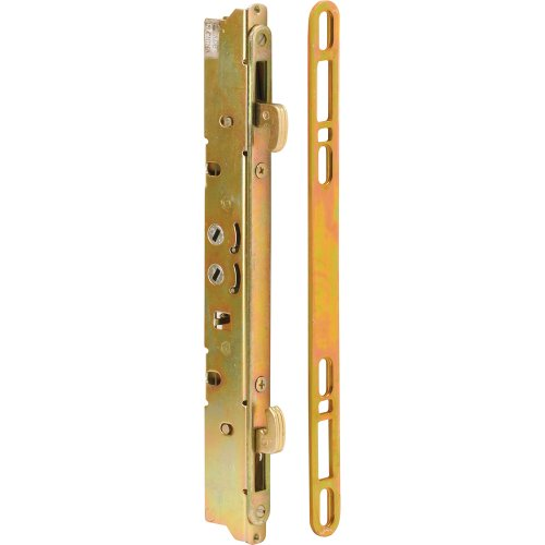 Prime-Line E 2473 Sliding Door Multi-Point Mortise Lock and Keeper, 9-7/8 in., Round Edge Faceplate, Pack of 1 Set ()