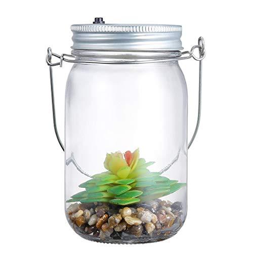 JinJin LED Grow Light for Indoor Plant, Artificial Succulents Solar Mason Jar Lights Bottle Nightlight Patio Outdoor (solar) ()