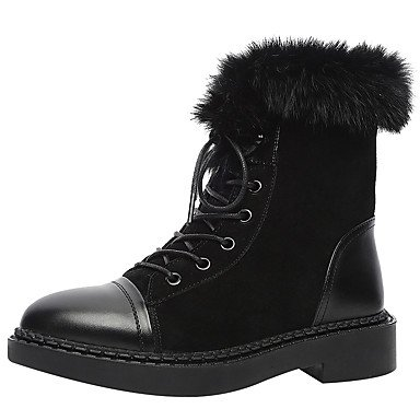 Boots Toe Boots Chunky Cowhide Women'S Round Winter CN36 Snow Up Leather UK4 Mid Calf Shoes Lace Real Fall EU36 Boots US6 Suede Fashion RTRY Boots Heel For PaqHwpq