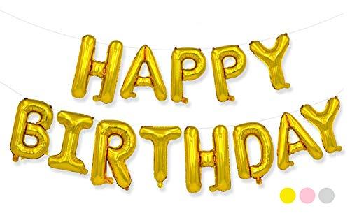 生日快乐气球,40.64 厘米铝箔横幅气球,用于生日派对装饰和用品(金色)