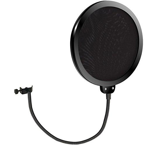 Pop Shield, Kasonic Studio Microphone Mic Round Shape Wind Screen Pop Filter Mask Shield Swivel Mount 360 Flexible Gooseneck Holder