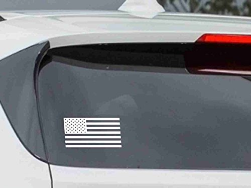 Car Sticker Decal American Vinyl (American Flag Car Vinyl Sticker Decal Bumper Sticker for Auto, Cars, Trucks, Walls, Windows, and More. (WHITE))