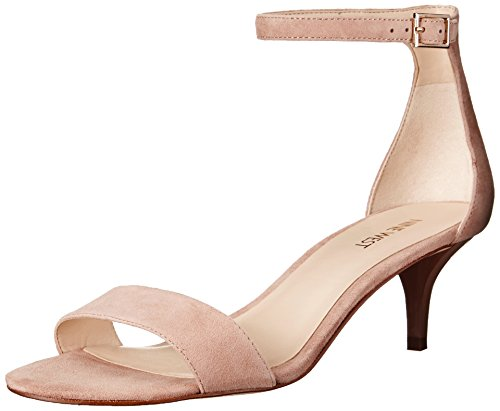 Nine West Women's Leisa Leather Dress Sandal, Red, 6 M US Light Natural Suede