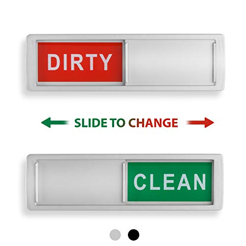 Clean Dirty Dishwasher Magnet - Non-Scratch Magnetic Silver Signage Indicator for Kitchen Dishes with Clear, Bold & Colored Text - Easy to Read & Slide for Changing Signs (silver) (Clean Sign Dishwasher)