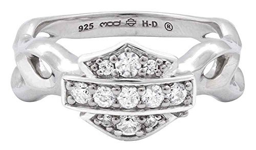 Harley-Davidson Womens Ring, Inferior Flames Embellished B&S, Silver HDR0358 (9)