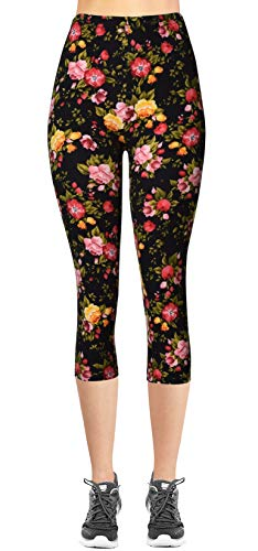 VIV Collection Plus Size Printed Brushed Buttery Soft Capris (Pink Yellow Red Roses) (Red Rose Collection)