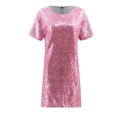 WYTong Women Ladies Casual Sequin Patchwork Mini Dress Short Sleeve Crew Neck Summer Dresses(Pink,L) by WYTong Hot Sale! (Image #2)