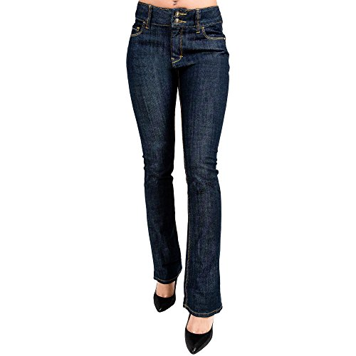 Boot Cut Rinse Wash (Miss Halladay Women's Stretch Denim Rinse Wash Skinny Bootcut jeans Two-Button Waistband)