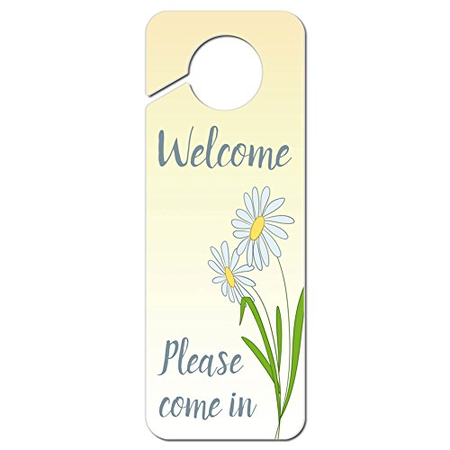 Graphics and More Welcome Please Come in with Daisies Plastic Door Knob Hanger Sign