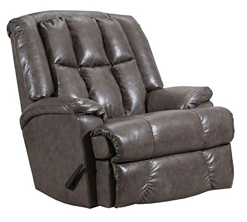 (Lane Clint Big Man Comfort King Wallsaver Recliner in Grey Leather/Vinyl. Rated for Weights of Up to 500 Lbs. Built As Heavy As The Lane Stallion Recliner. 4503)