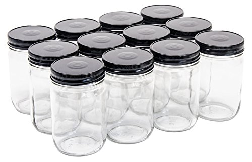 North Mountain Supply 12 Ounce Glass Regular Mouth Mason Canning Jars - With Black Safety Button Lids - Case of (12 Oz Glass Candle)
