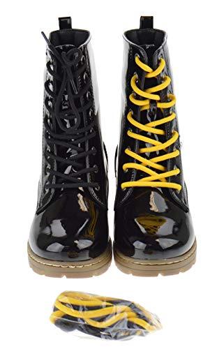 - Shoe Dezigns Declyn 01 Womens Patent 2 Color Lace Combat Boots Black Patent 7