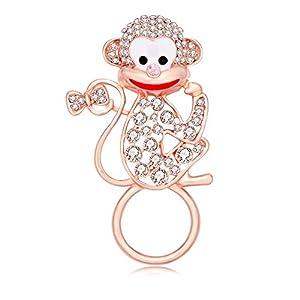 TUSHUO Dainty White Rhinestone Monkey Magnetic Clip Eyeglass Holder Animals Sunglasses Hanger