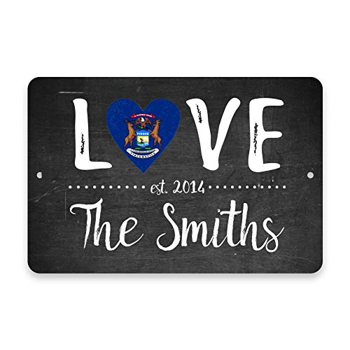 Anwei Signs Personalized Chalkboard Michigan Love State Flag Metal Room Sign with Family Name 12 X 16 Inch