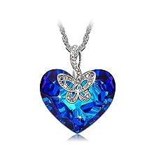 J.NINA Butterfly Love SWAROVSKI crystals Pendant Women Neckla...