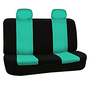 FH Group FB050MINT114 Flat Cloth Full Seat Cover Set (w. 4 Detachable Headrests and Solid Bench)