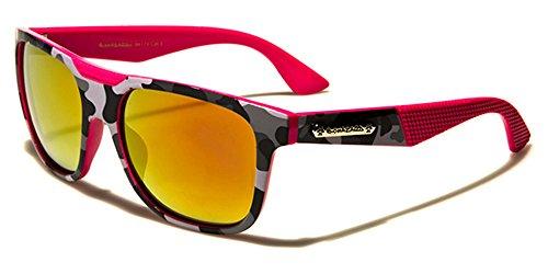 BIOHAZARD Classique Rectangulaire Homme/Femme Lunettes de soleil Verres Miroirs sport au volant UV400 GRATUIT beachhutsunglasses poche inclus rose/orange-pink verres