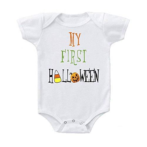 Ink Trendz My First Halloween Jack-o-Lantern Pumpkin Short Sleeve Baby Bodysuit ()