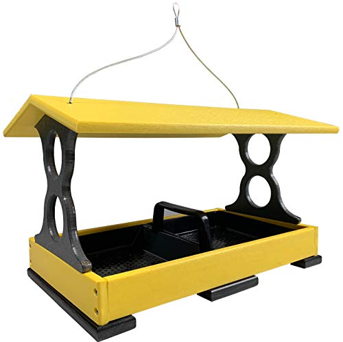 JCs Wildlife Large Yellow/Gray Poly Fly-Thru Bird Feeder w/ Removable Seed Tray ()