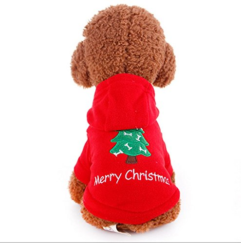 "DogLemi@ Dog Clothes, ""Merry Christmas"" Santa Claus Costume Dog Cat Pet Clothing Dog Hoodie Outwear Thick Coat Apparel (PD04402-RED-S)"