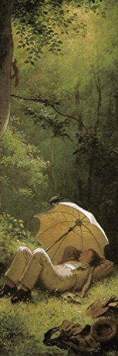 Carl Spitzweg Poster Adhesive Photo Wall-Print - The Painter On A Clearing, Lying Beneath An Umbrella, 1850, Detail (98 x 31 - Sunshades Poster Print