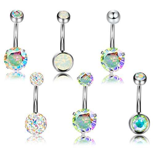 Thunaraz 6pcs 14G Stainless Steel Belly Button Rings for Women Crystal CZ Ball Screw Navel Bars (A: 6pcs AB CZ)